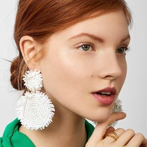 White Rianne Beaded Drop Earrings